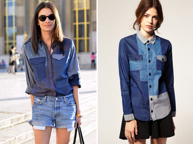 Asos Color Block Denim Shirt $72,